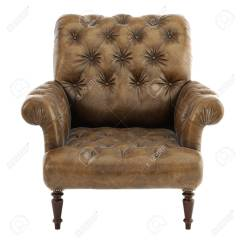 Vintage Arm Chair Ergonomic Staples Old Styled Brown Armchair Isolated On White Background 3d Rendering Stock Photo