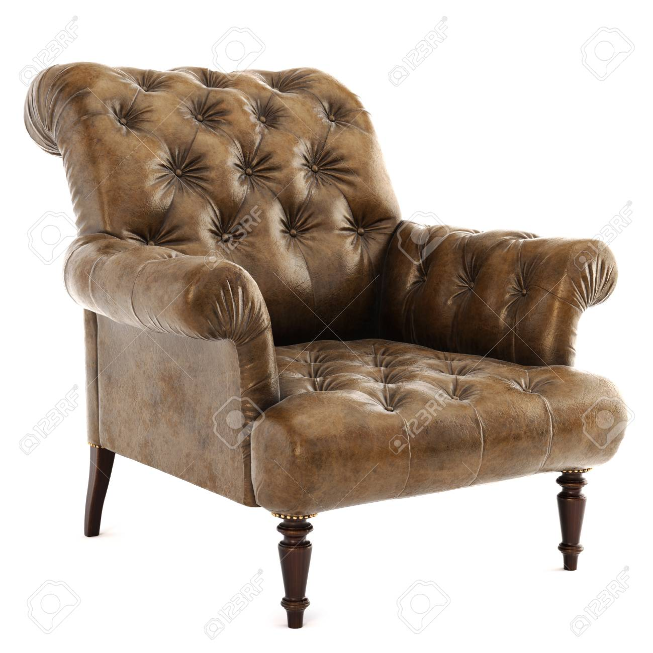 vintage arm chair eames green old styled brown armchair isolated on white background 3d rendering stock photo