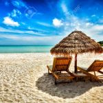 Vacation Holidays Background Wallpaper Two Beach Lounge Chairs Stock Photo Picture And Royalty Free Image Image 46099557