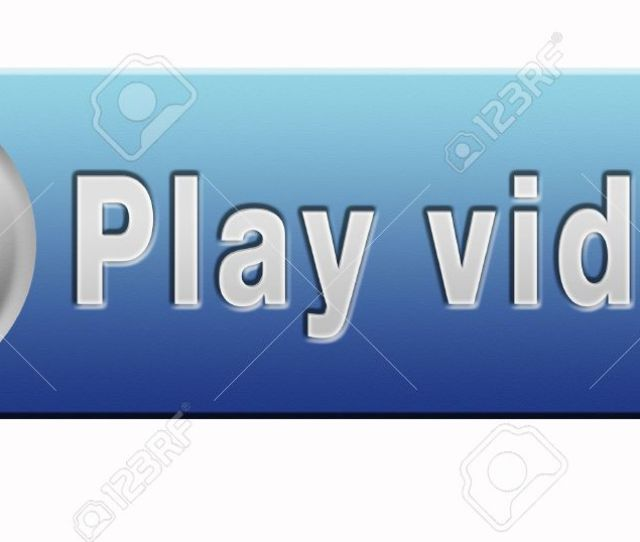 Stock Photo Video Play Clip Or Watch Movie Online Or In Live Stream Blue Multimedia Button Banner Or Icon