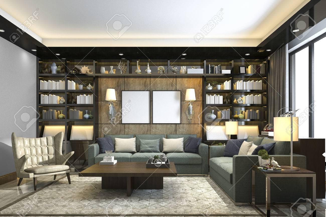 salon de luxe loft rendu 3d avec bibliotheque et bibliotheque
