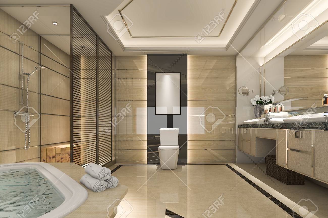 3d rendant la salle de bain loft moderne avec le decor de carrelage de luxe avec belle vue depuis la fenetre