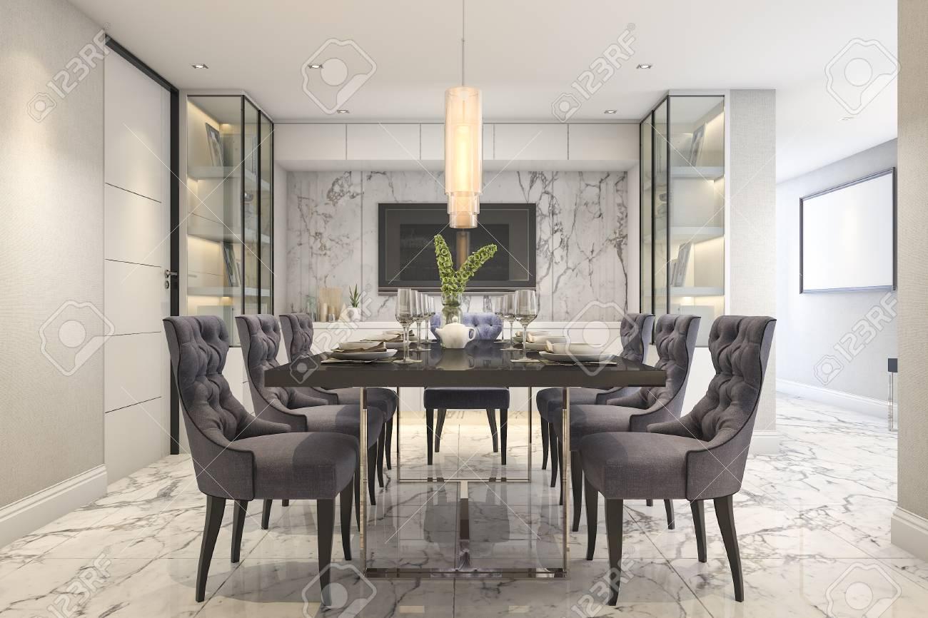 ensemble de salle a manger bleu de rendu 3d dans la salle a manger de luxe moderne pres de la porte