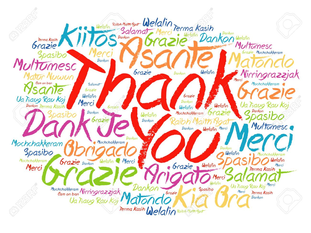 hight resolution of thank you word cloud background all languages multilingual for education or thanksgiving day stock