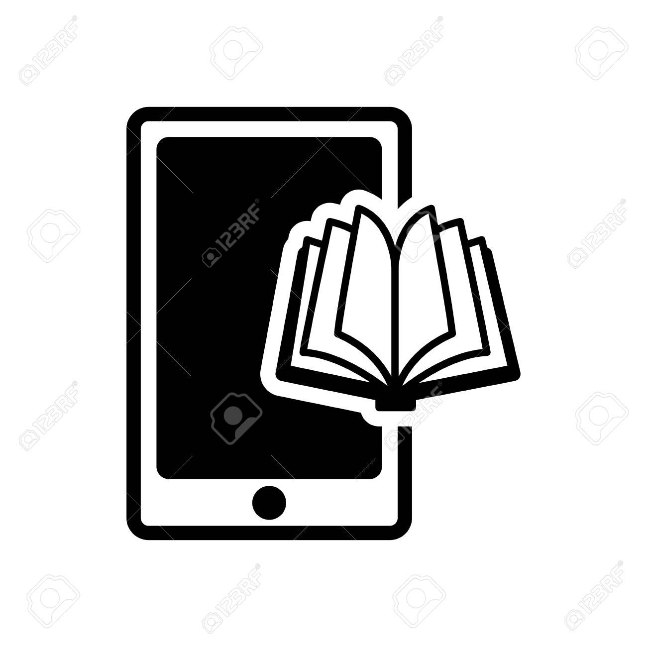 This ebook icon is in flat style available to download as png, svg, ai, eps, or base64 file is part of ebook icons family. Ebook Book Smartphone Technology Reading Icon Flat Silhouette And Isolated Design Vector Illustration Royalty Free Cliparts Vectors And Stock Illustration Image 61383792