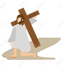 jesus christ falls first time via crucis station vector illustration eps 10 stock vector  [ 1300 x 1300 Pixel ]