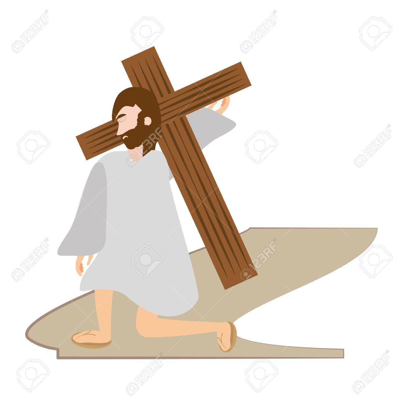 hight resolution of jesus christ falls first time via crucis station vector illustration eps 10 stock vector