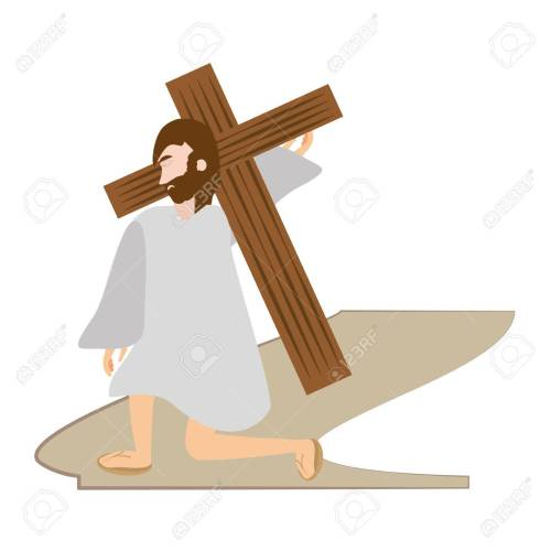 small resolution of jesus christ falls first time via crucis station vector illustration eps 10 stock vector
