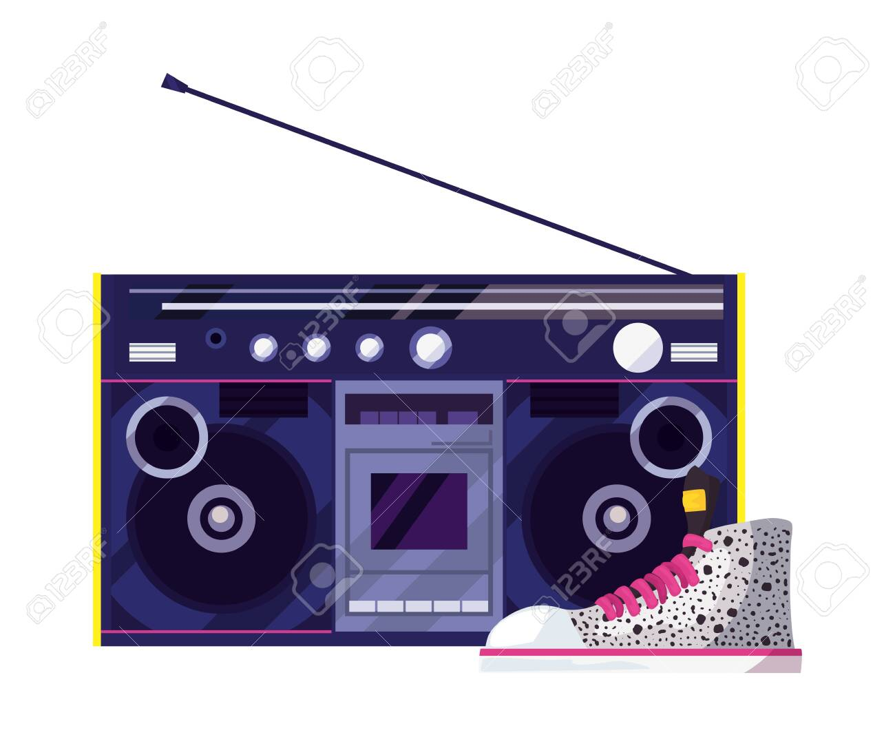 boombox stereo music retro
