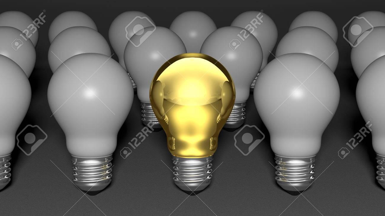 one golden light bulb