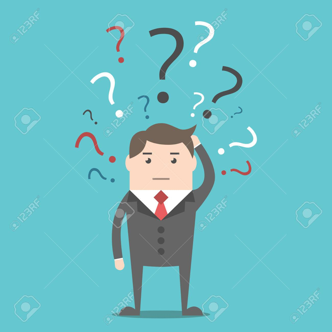 Confused Thinking Businessman With Many Multicolor Question Marks.. Royalty  Free Cliparts, Vectors, And Stock Illustration. Image 62199197.