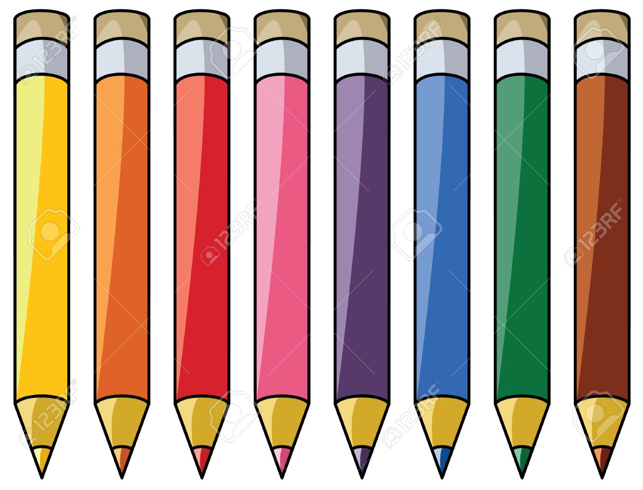 hight resolution of colourful pencils clipart stock vector 8355035