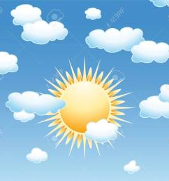 background with clouds and sun in the sky stock vector 14268772 [ 1300 x 1091 Pixel ]