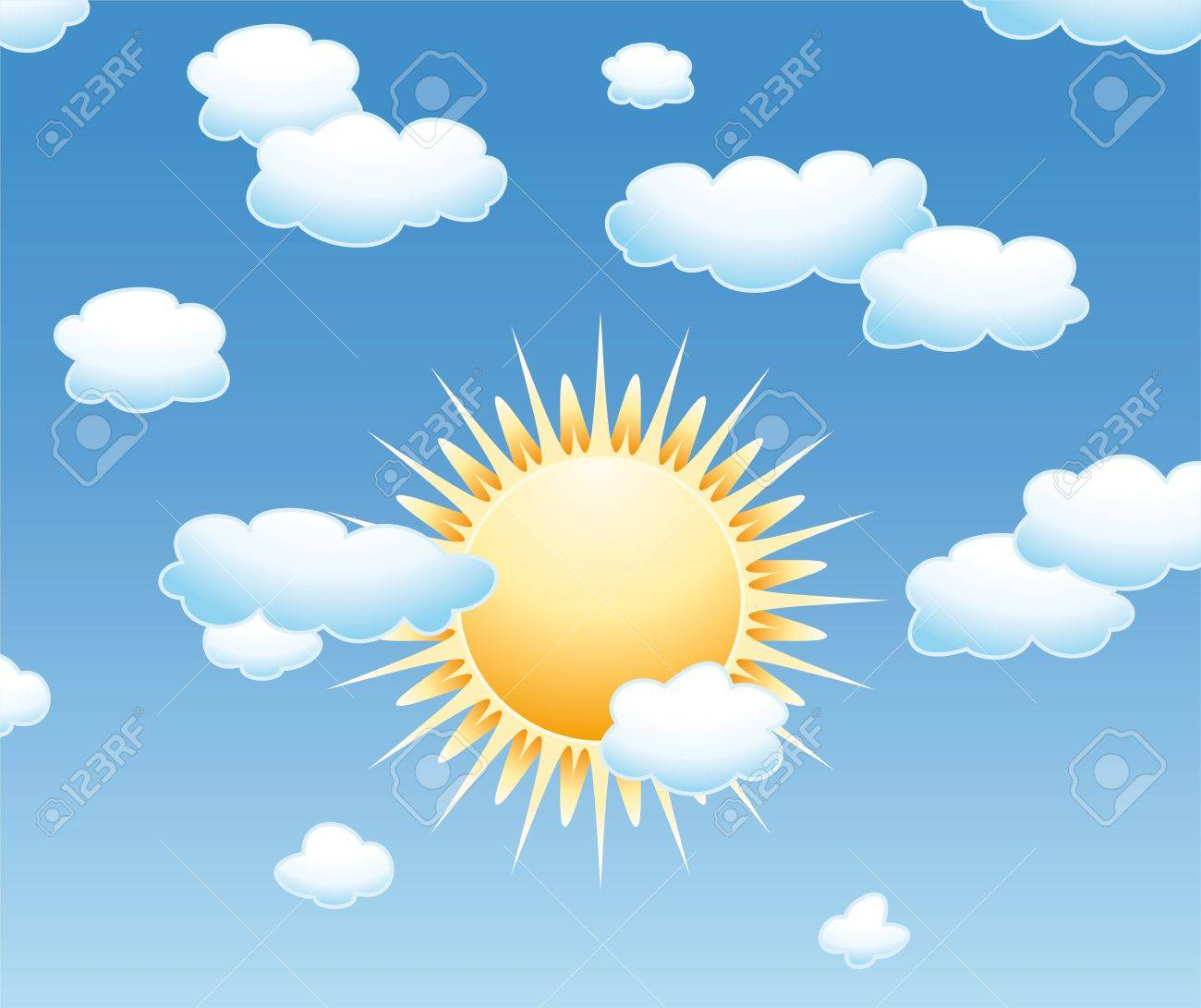 hight resolution of background with clouds and sun in the sky stock vector 14268772