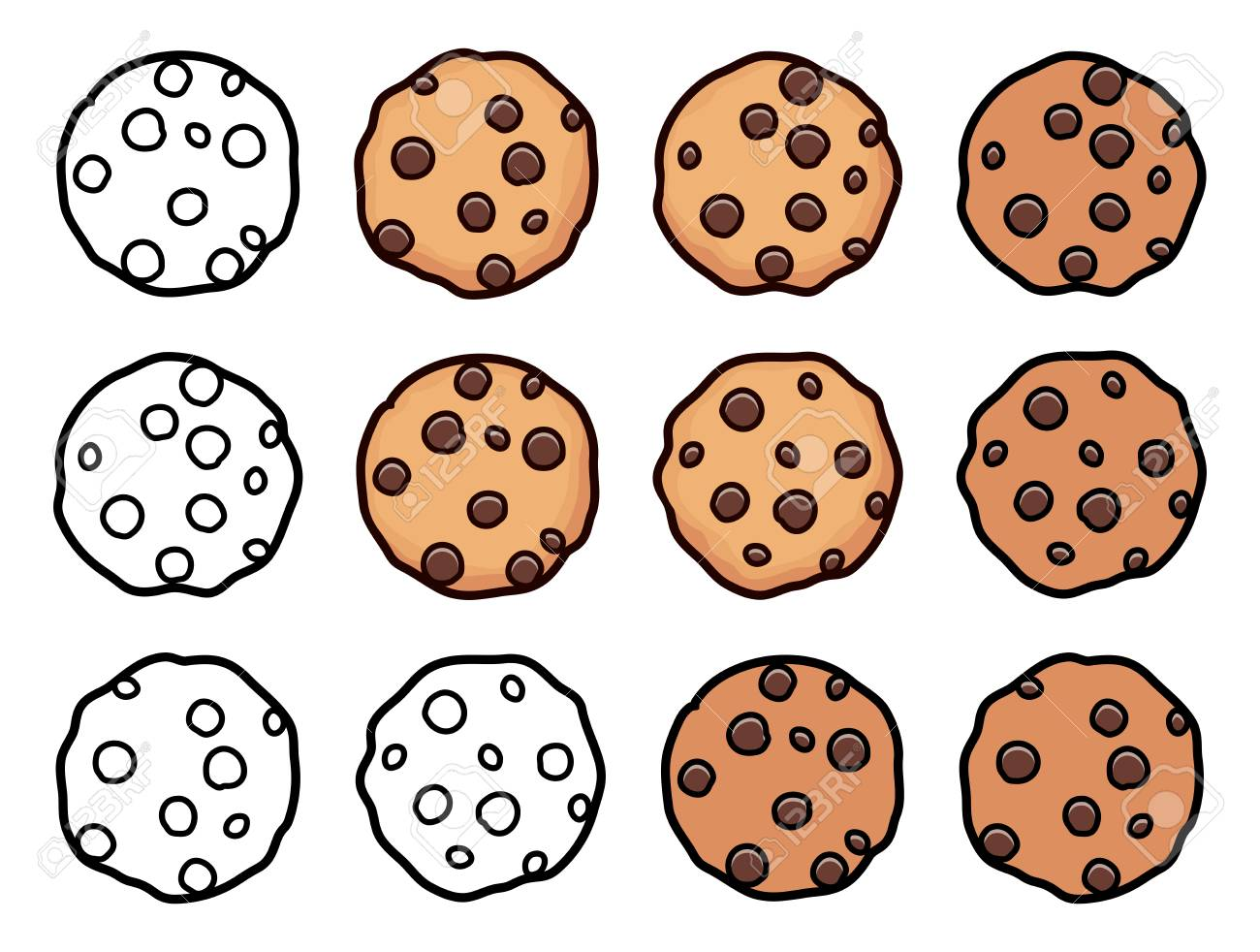 Vector Set Of Chocolate Chip Whole Cookies Isolated On White Royalty Free Cliparts Vectors And Stock Illustration Image 104391398