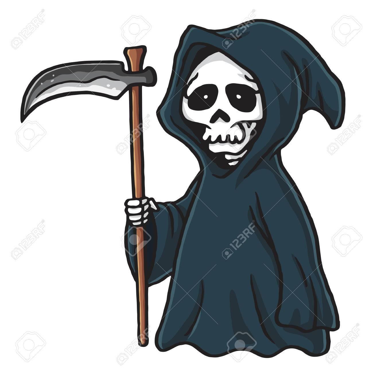 hight resolution of grim reaper cute cartoon skeleton halloween vector illustration clip art stock vector 69937765