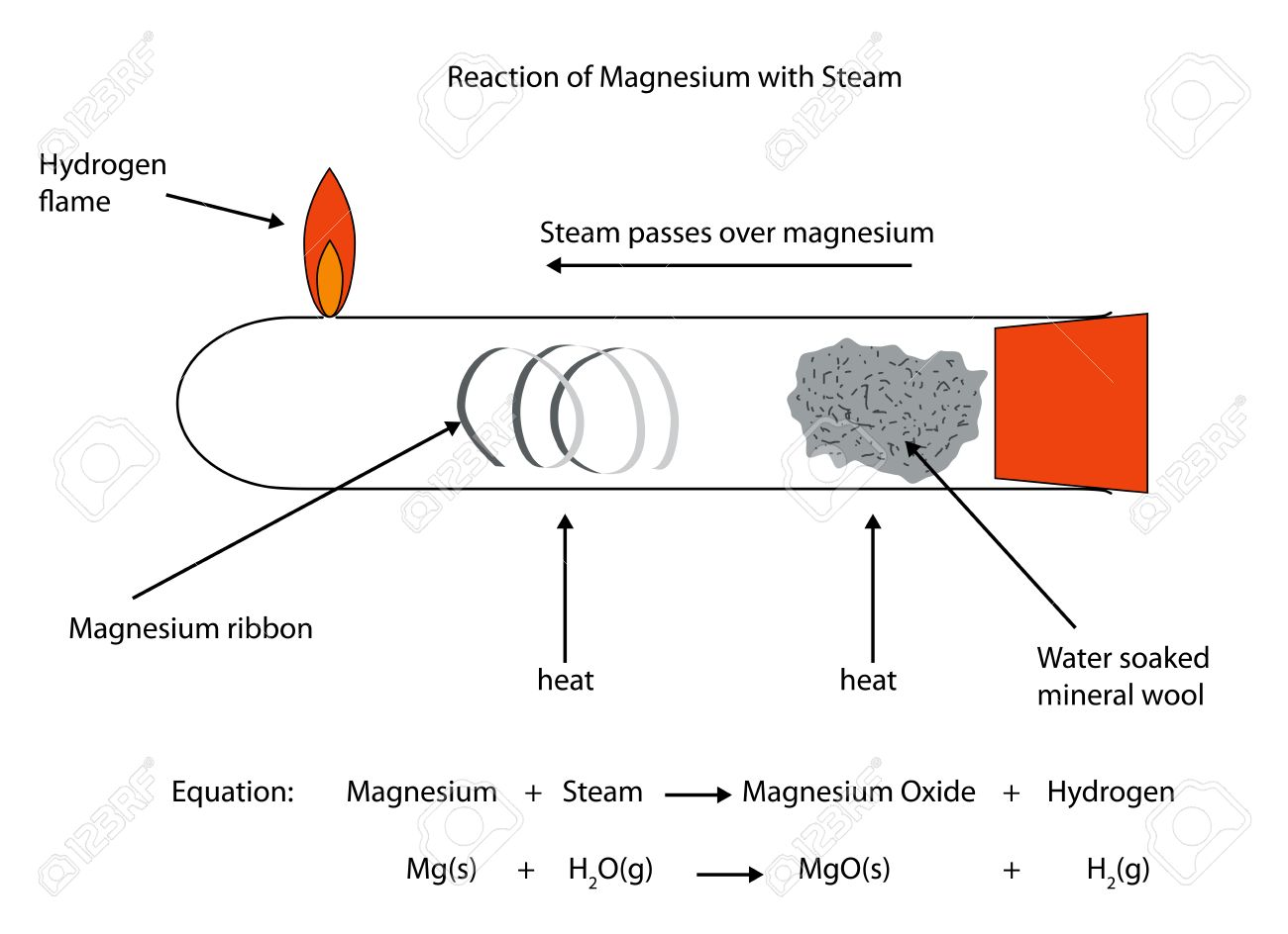 hight resolution of labelled diagram of magnesium reacting with steam
