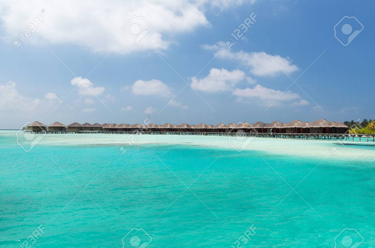 bungalow huts in sea