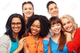 International Group Of Happy Women Hugging Stock Photo, Picture And Royalty Free Image. Image 76362959.