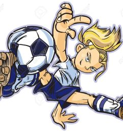vector vector clip art cartoon of a caucasian girl using a break dancing move to play soccer also available in asian and african ethicities  [ 1300 x 1119 Pixel ]