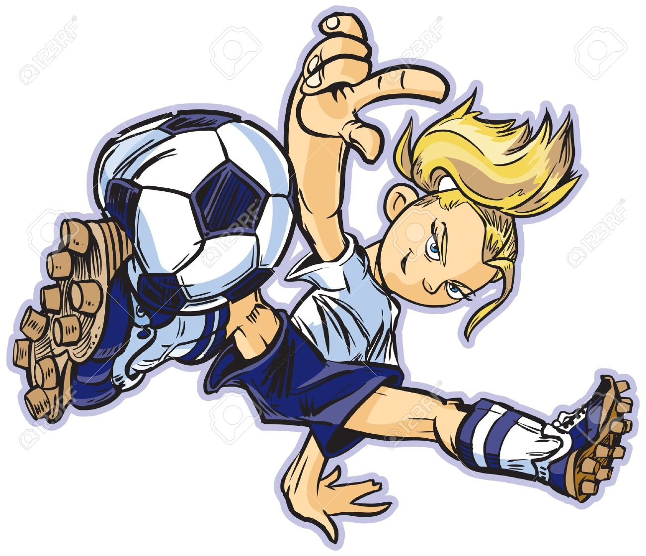 hight resolution of vector vector clip art cartoon of a caucasian girl using a break dancing move to play soccer also available in asian and african ethicities