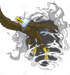 vector cartoon clip art illustration of a tough muscular bald eagle mascot ripping out of the background while throwing the number one hand gesture  [ 1300 x 1199 Pixel ]
