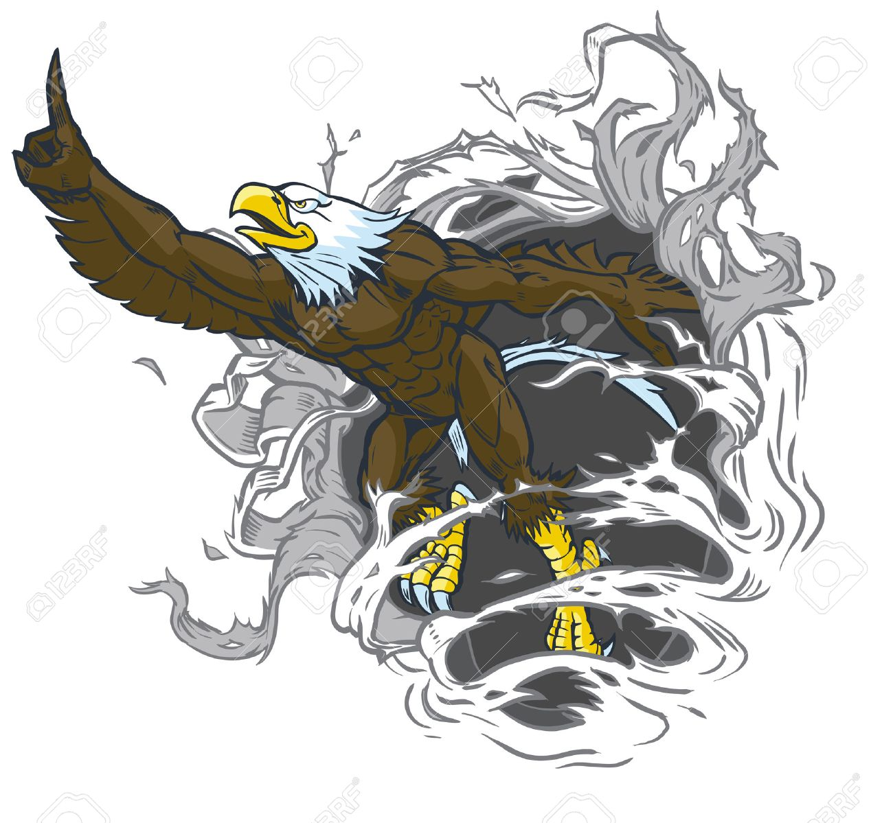 hight resolution of vector cartoon clip art illustration of a tough muscular bald eagle mascot ripping out of the background while throwing the number one hand gesture