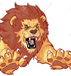 vector vector cartoon clip art illustration of a roaring lion leaping or jumping forward toward the viewer with its claws out  [ 1300 x 1125 Pixel ]