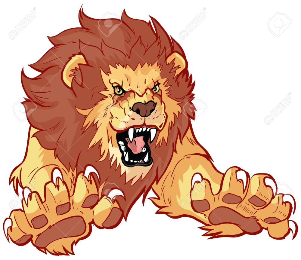 medium resolution of vector vector cartoon clip art illustration of a roaring lion leaping or jumping forward toward the viewer with its claws out