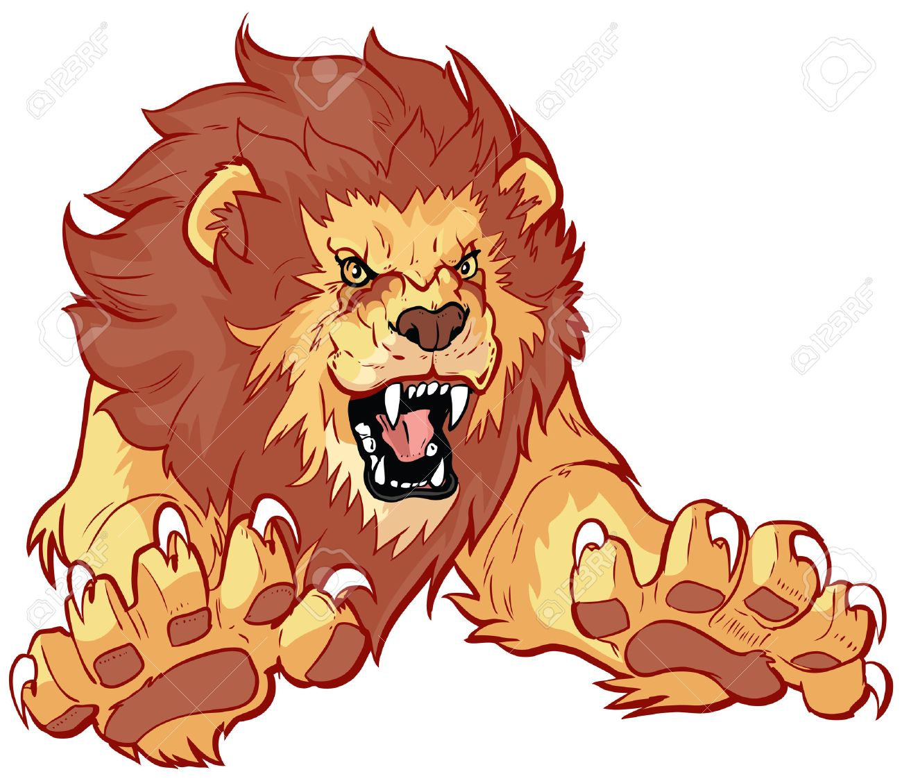hight resolution of vector vector cartoon clip art illustration of a roaring lion leaping or jumping forward toward the viewer with its claws out
