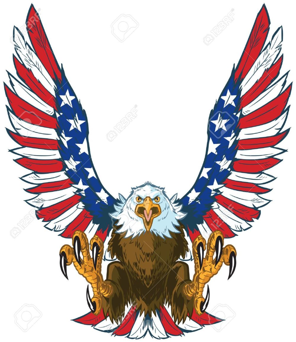 medium resolution of vector vector cartoon clip art illustration of a mean screaming bald eagle flying toward the viewer with wings spread and talons out