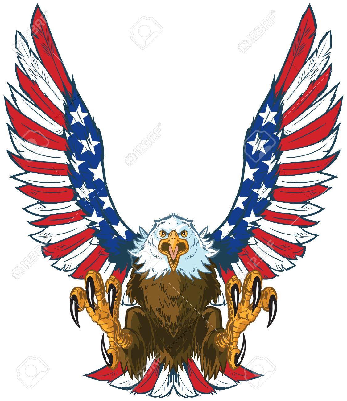 hight resolution of vector vector cartoon clip art illustration of a mean screaming bald eagle flying toward the viewer with wings spread and talons out