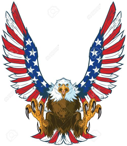 small resolution of vector vector cartoon clip art illustration of a mean screaming bald eagle flying toward the viewer with wings spread and talons out