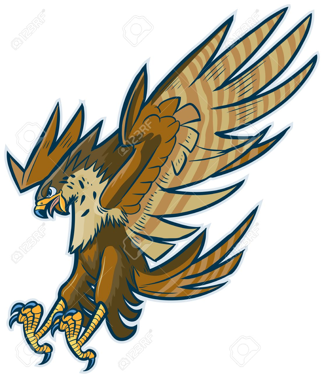 hight resolution of vector vector cartoon clip art illustration of a hawk falcon or eagle mascot diving or swooping down with spread wings and talons and beak open