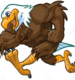 vector vector cartoon clip art illustration side view of a tough but friendly and cute bald eagle mascot running  [ 1300 x 1229 Pixel ]