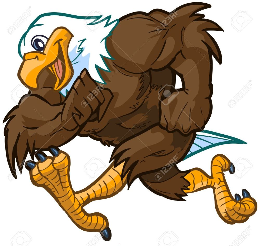 medium resolution of vector vector cartoon clip art illustration side view of a tough but friendly and cute bald eagle mascot running