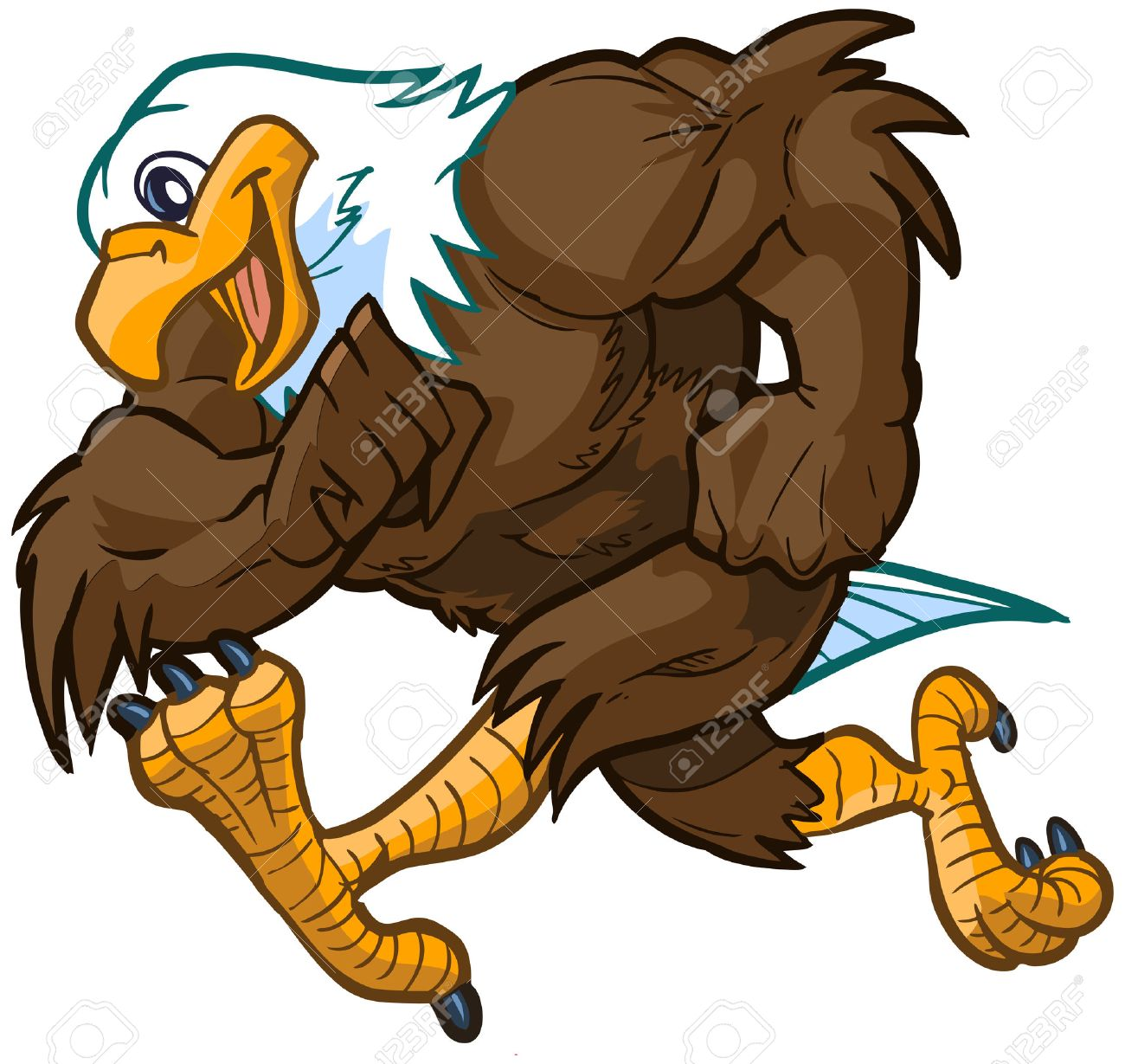 hight resolution of vector vector cartoon clip art illustration side view of a tough but friendly and cute bald eagle mascot running
