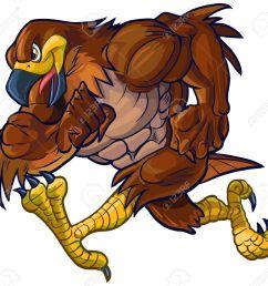 vector vector cartoon clip art illustration side view of a tough muscular hawk falcon or eagle mascot running  [ 1300 x 1229 Pixel ]