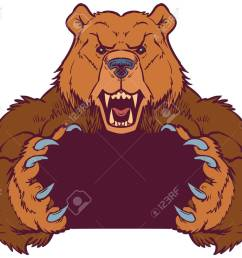 cartoon vector clip art illustration template of a brown bear mascot holding or gripping empty space [ 1300 x 1071 Pixel ]