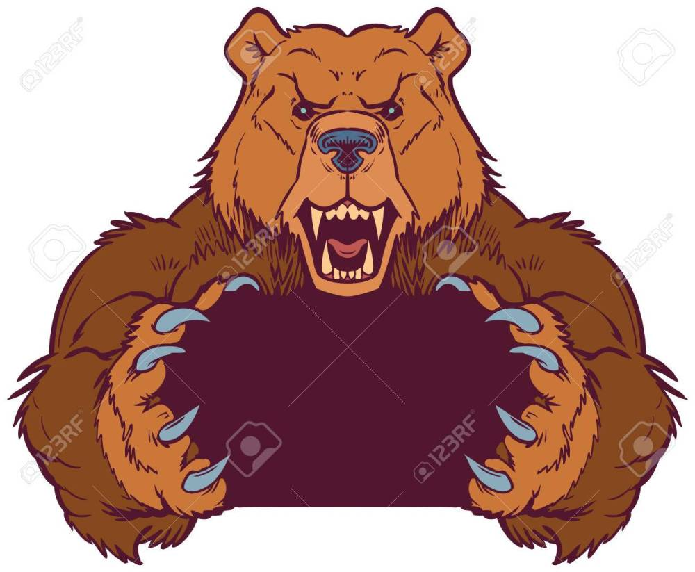 medium resolution of cartoon vector clip art illustration template of a brown bear mascot holding or gripping empty space