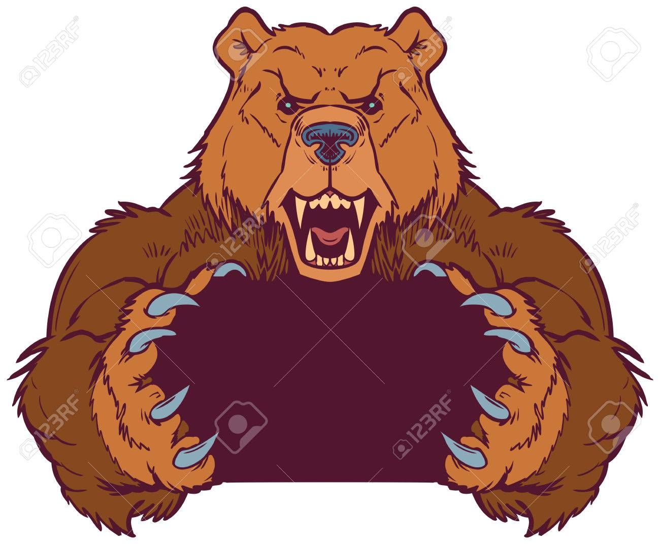 hight resolution of cartoon vector clip art illustration template of a brown bear mascot holding or gripping empty space