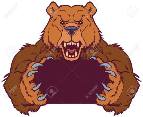 small resolution of cartoon vector clip art illustration template of a brown bear mascot holding or gripping empty space