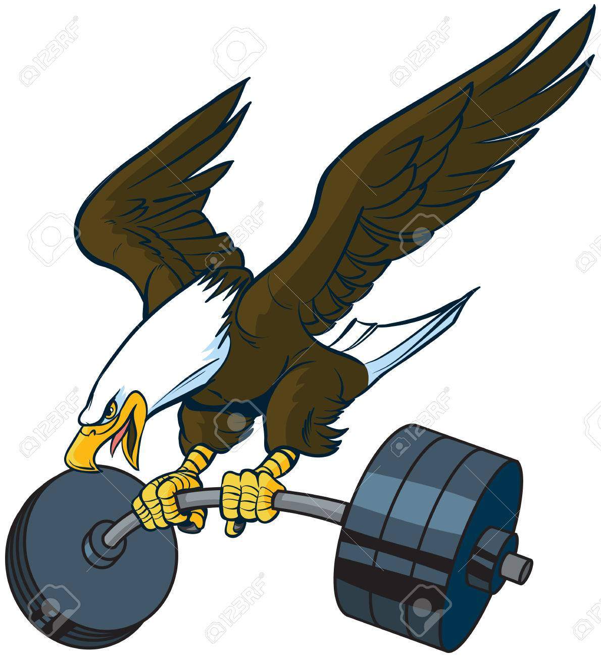 hight resolution of vector vector cartoon clip art illustration of a bald eagle mascot diving or swooping down with spread wings and a barbell weight in its talons