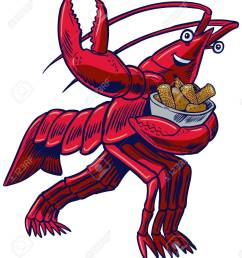 vector cartoon clip art illustration of a crayfish crawfish crawdad or lobster in [ 1150 x 1300 Pixel ]