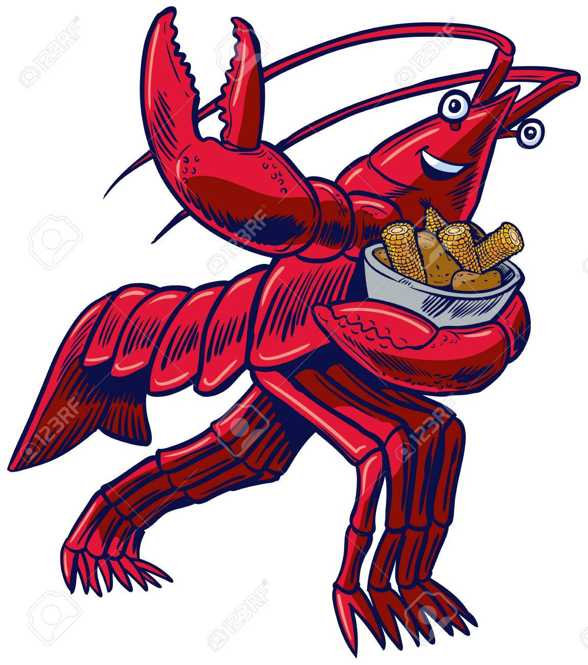 hight resolution of vector cartoon clip art illustration of a crayfish crawfish crawdad or lobster in