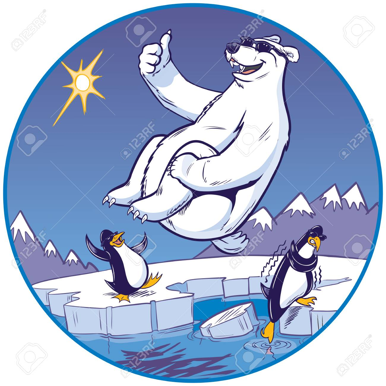 hight resolution of vector vector cartoon clip art illustration of a cute funny polar bear mascot giving a thumbs up while doing a cannonball plunge