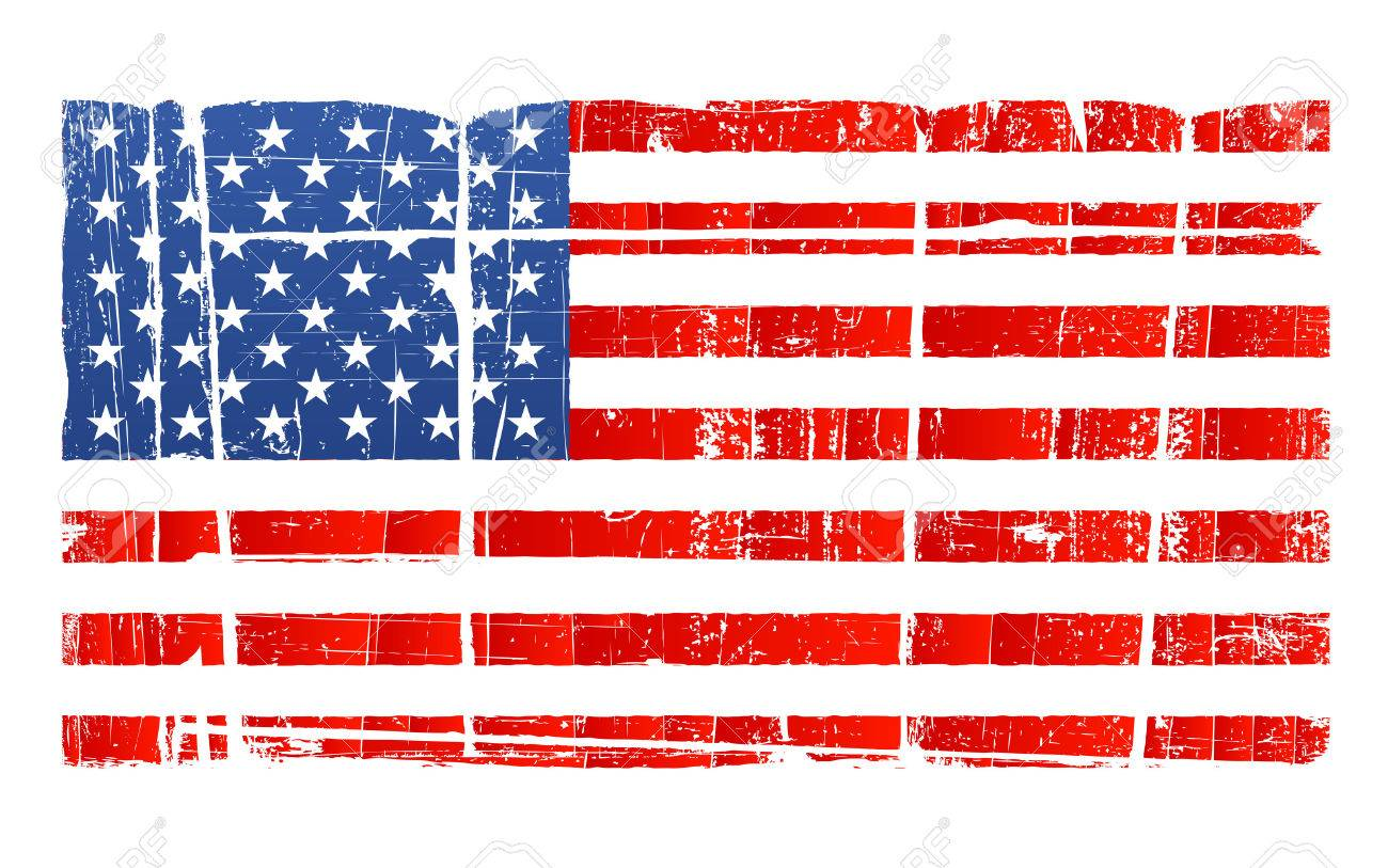 hight resolution of vector vector illustration of the american flag in accurate proportions with a grungy distressed look separated on layer detailed dirt