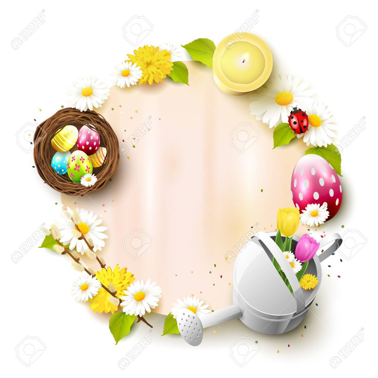 Cute Easter Template With Decorations And Empty Paper With Place