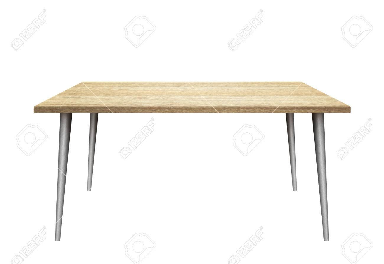 table 3d sur fond blanc plateau en bois pieds en metal