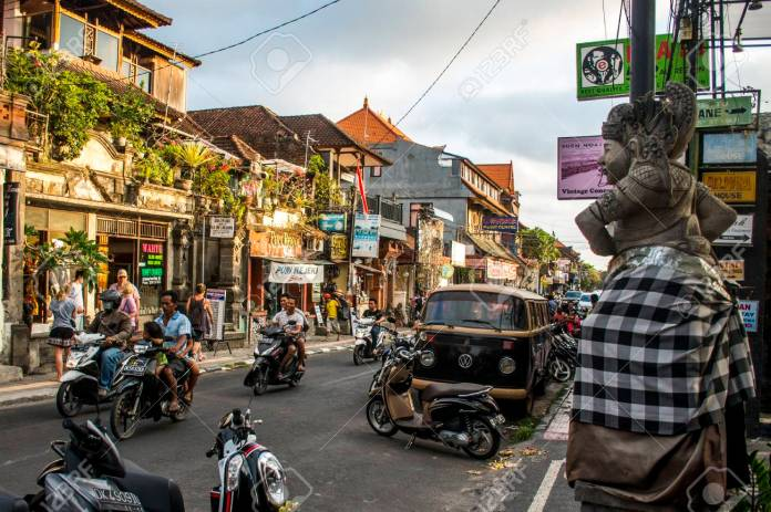 Bali Indonesia Ubud City Life Of Local People At Sunset 08 09 2015 Stock Photo Picture And Royalty Free Image Image 63615038